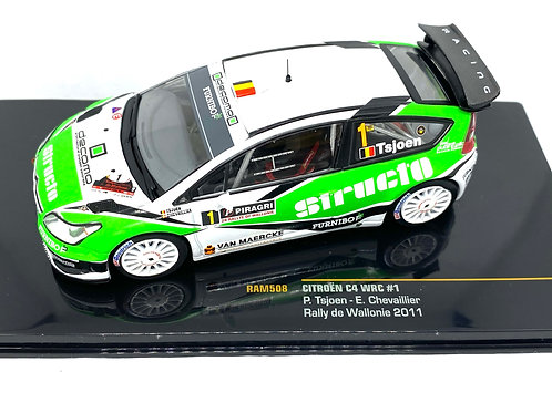 1:43 Scale IXO Citroen C4 WRC Rally Car - P Tsjoen 2011 Diecast Model Rally Car