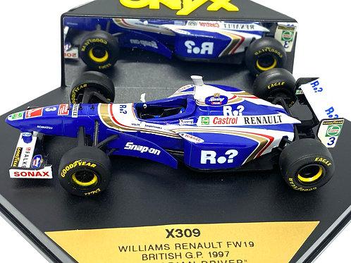 1:43 scale Boxed Onyx Williams FW19 F1 Car - Jacques Villeneuve British GP 1997