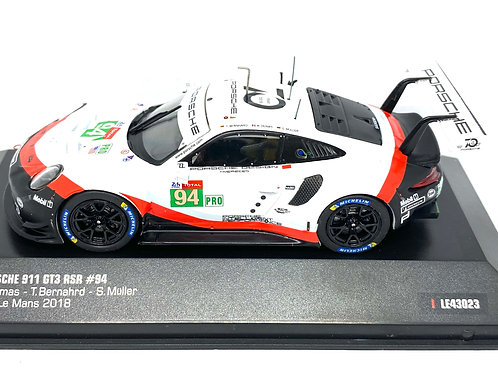 1:43 scale IXO Porsche 911 GT3 RSR - Dumas, Bernahrd & Muller Le Mans 2018 Model