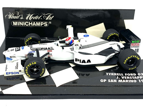 1:43 scale Minichamps Tyrrell Ford 025 F1 Car - Jos Verstappen San Marino 1997