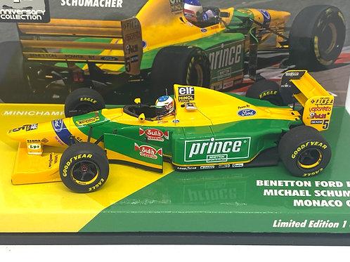 Ltd Edition 1:43 scale Minichamps Benetton B193B F1 Car - M Schumacher Monaco 93