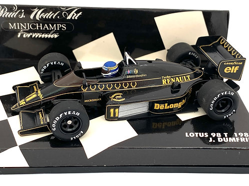Rare 1:43 scale Minichamps Lotus Renault 98T F1 CarJ Dumfries 1986 Model Car