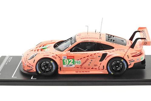 1:18 scale IXO Porsche 911 GT3 RSR Pink Pig Le Mans 2018 Diecast Model GT3 Car