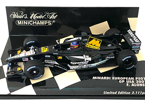 Ltd Edition 1:43 scale Minichamps Minardi PS01 F1 Car - Fernando Alonso USA 2001
