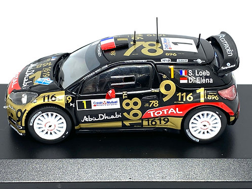1:43 Scale Diecast Club Citroen DS3 WRC Rally Car - S Loeb France 2013 Rally Car