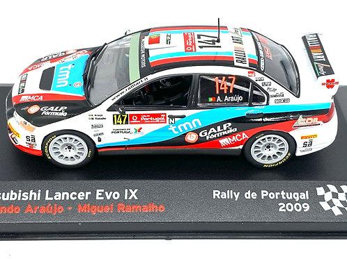 1:43 scale Altaya Mitsubishi Lancer Evo IX Rally Car - A Araujo Portugal Rally
