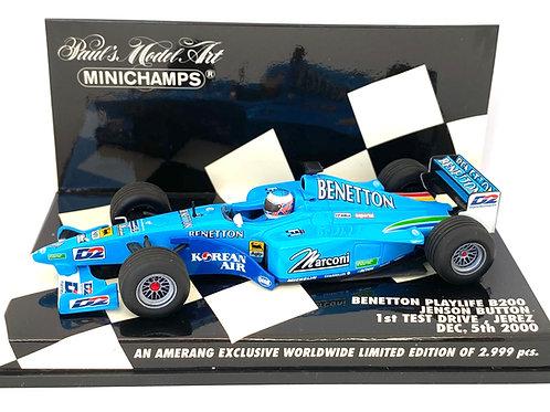 1:43 scale Minichamps Model of a Benetton B200 F1 Test Car - Jenson Button 2000