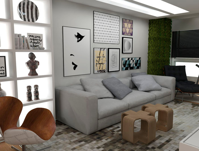 Living da LA House, projeto Alves+Zoppas Arquitetura.