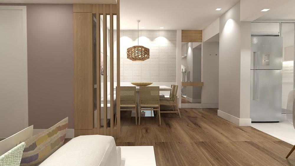 No projetoNLHouse,da AzArquitetura, adivisória divide sutilmente o jantar da área de estar.