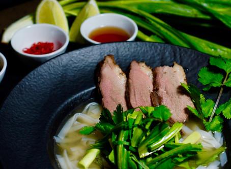 Pho Vit - vietnamesische Nudelsuppe mit Ente