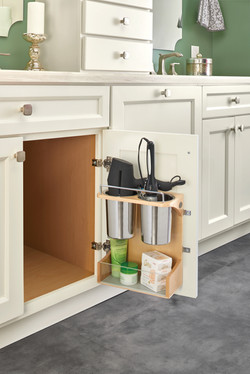 Door Mounted Appliance Storage in Cabinet
