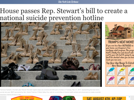House Passes Rep. Stewart's Bill to Create a 3 Digit National Suicide Prevention Hotline