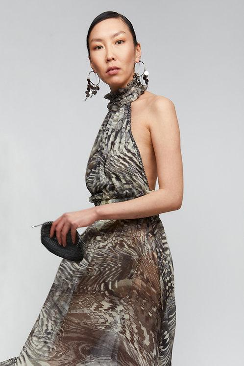 MELROSE GREY CHIFFON DRESS