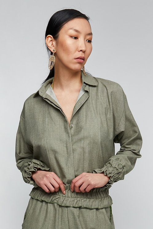BLOOM LINE - OLIVE OVERSIZE SHIRT