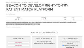 Biocentury: BEACON TO DEVELOP RIGHT-TO-TRY PATIENT MATCH PLATFORM