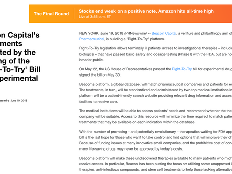 Yahoo Finance: Beacon Capital's Investments Validated by the Passing of the 'Right-To-Try' Bill
