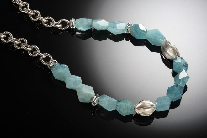 Aquamarine nuggets and silver necklace