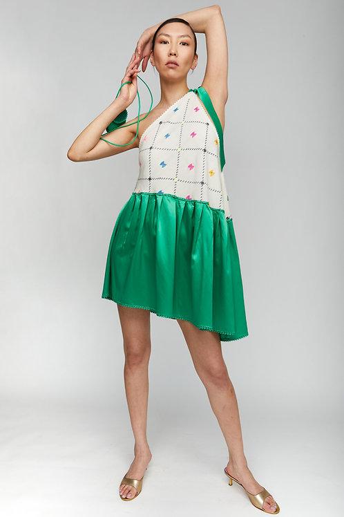 DIAGONAL GREEN ETHNIC DRESS