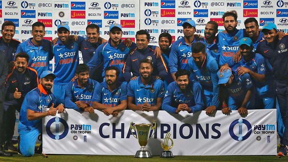 Champions trophy won by the present Indian teamChampions trophy won by the present Indian team