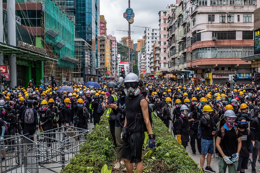 Tear gas protection mask amidst the protest