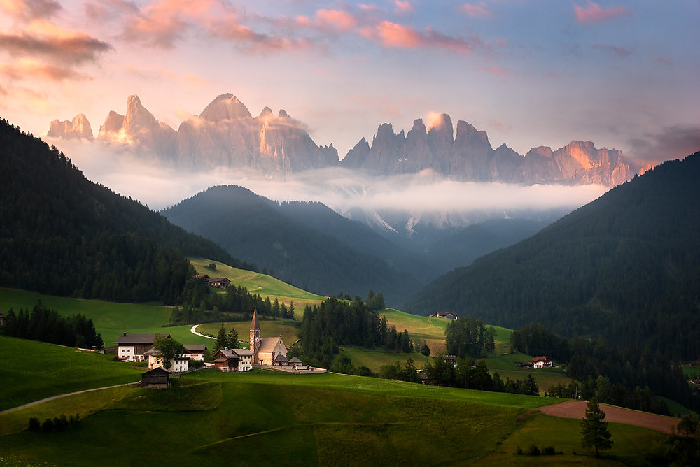 An exotic view from the mountains of italy