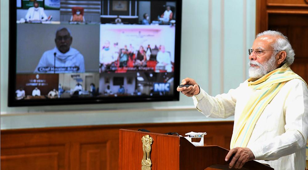 Prime minister Narendra Modi Inaugurating Garib Kalyan Rojgay Abhiyan