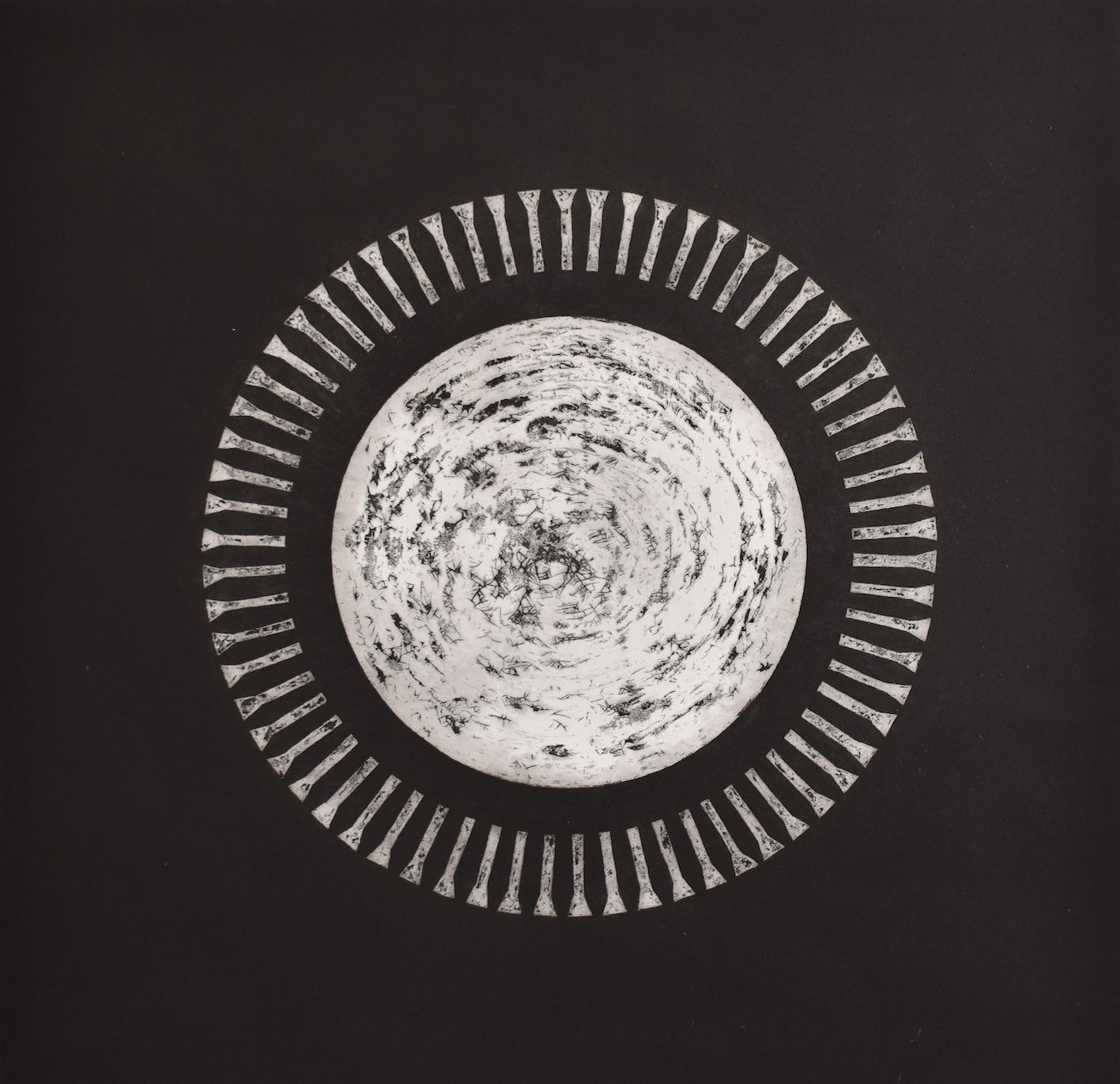 Fig 5, 'Design of the Panopticon: Chaos', Aquatint etching, 76 x 56 cm, 2011