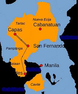 Bataan Death March Route.png