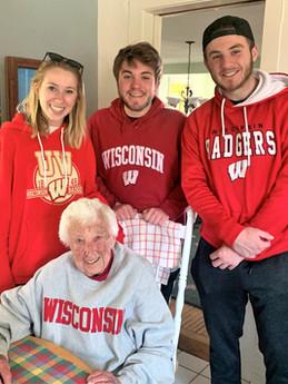 Nancy with grandchildren, Jane, Zach and Ben