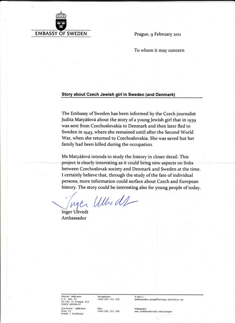 Reference from Swedish Ambassador