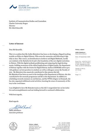 Recommendation letter from professor Sobotkova - Aarhus University