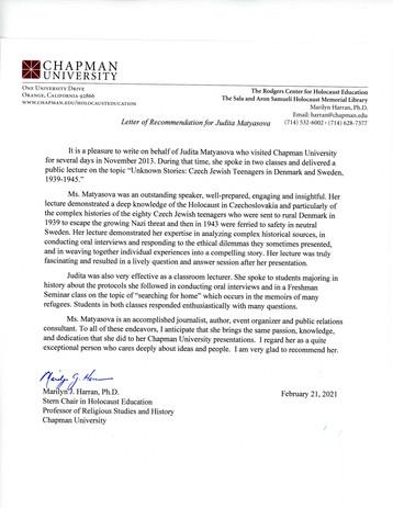 Reference from Chapman University, USA
