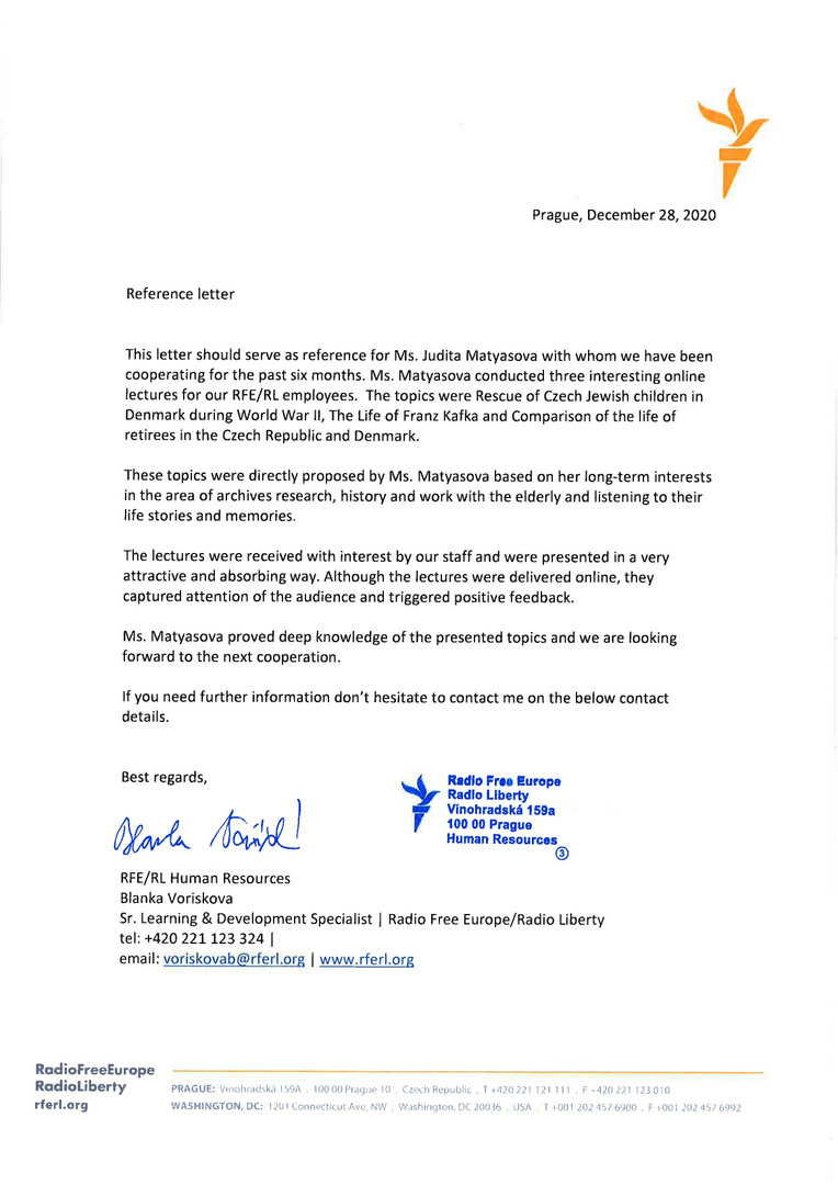 Letter from Radio Free Europe