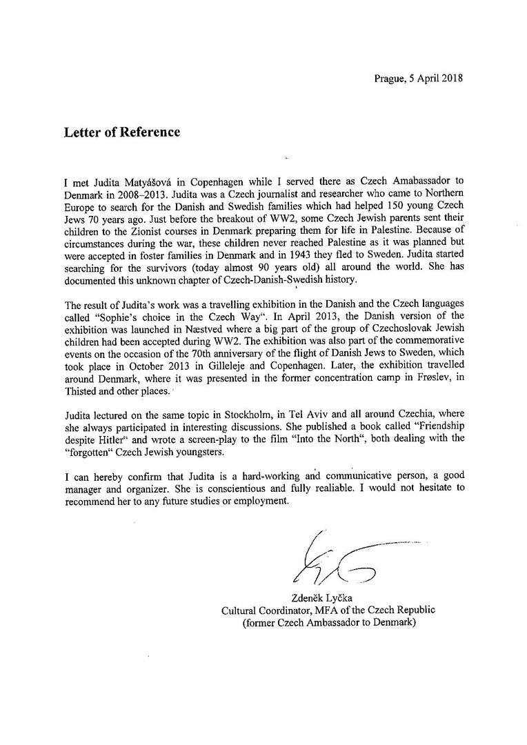 Reference from former Czech Ambassador in Denmark