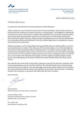Letter from professor Brænder - Aarhus University