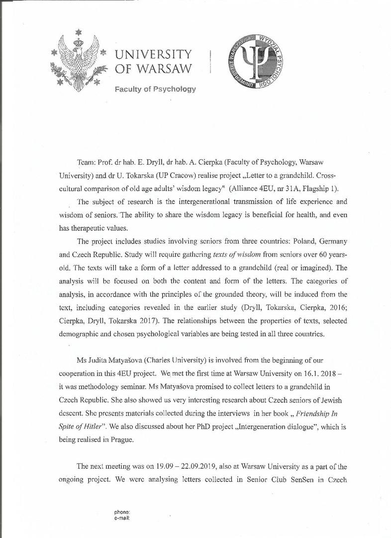 Letter from Warsaw University I.