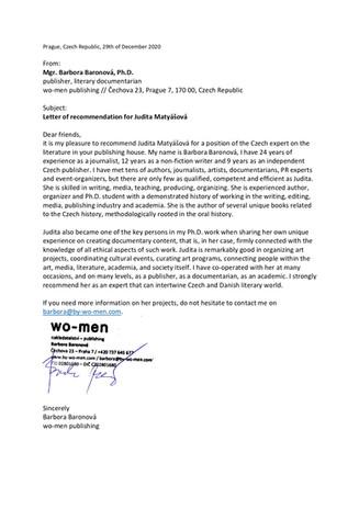 Letter from Czech publisher Barbora Baronova
