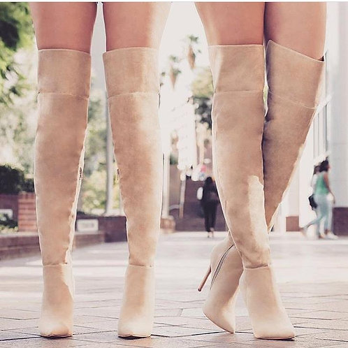 NUDE THIGH HIGH BOOTS