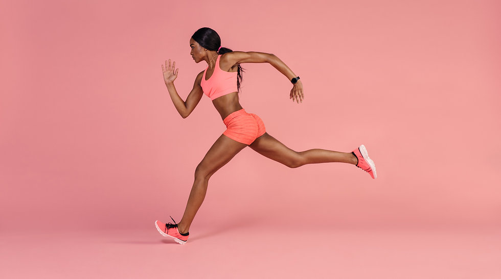Fit and healthy woman running. African f