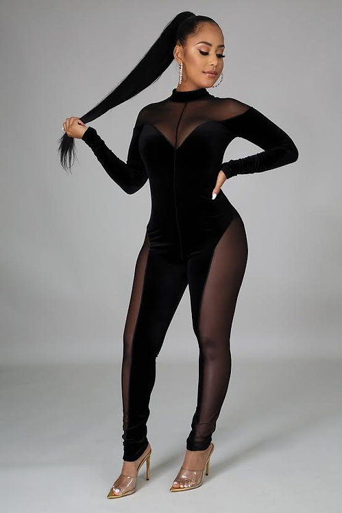 BODIED Velour Mesh Jumpsuit -Black Preorder