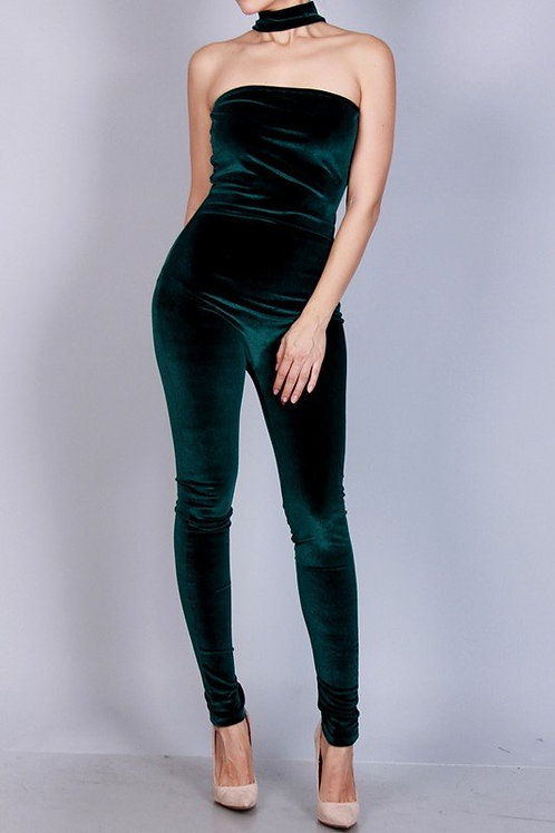 VELVET CHOKER NECK JUMPSUIT-HUNTER GREEN