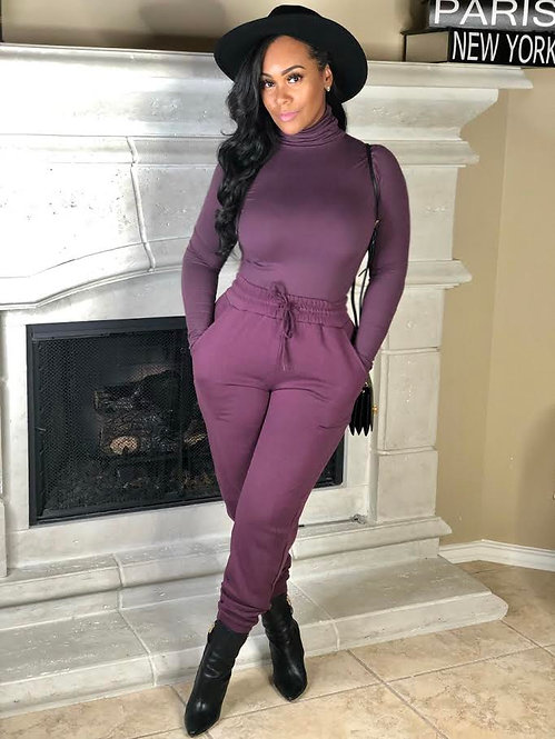 Turtle Neck & Jogger Pants Set - Plum