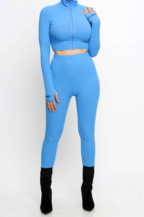 MOCK-NECK CROP TOP AND PANTS SET - BLUE - PREORDER
