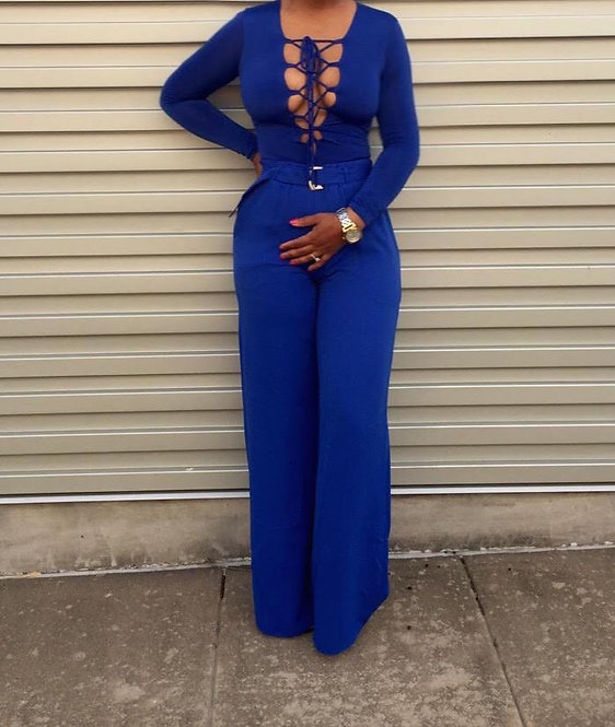 Woven Belted Flared Pants - BLUE
