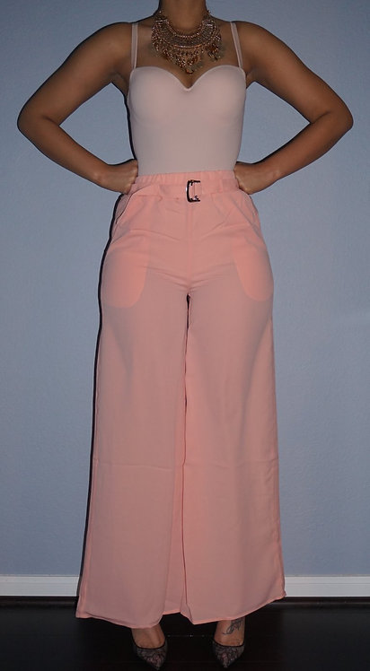Woven Belted Flared Pants - CORAL