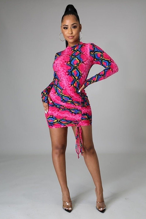 MULTI SNAKE PRINT MINI DRESS
