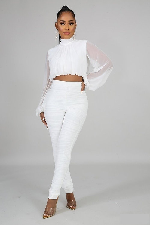 Date Night Pleat Pants Set - White