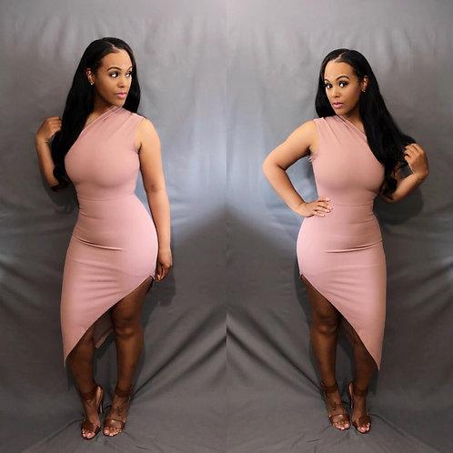 Paris Asymmetric Dress - Mauve