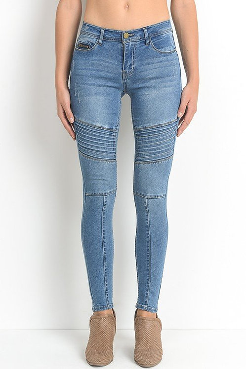 PANELLED STRETCH DENIM