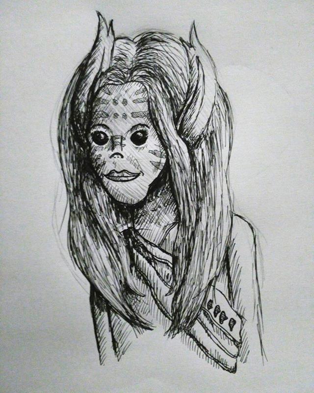 Here's an alien ambassador I drew yester
